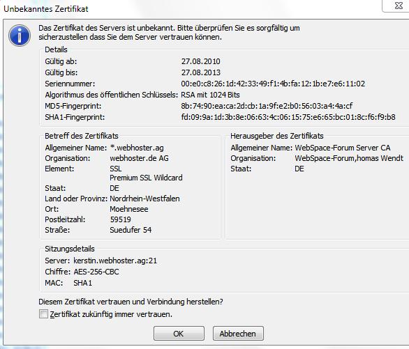 webhoster.info » Artikel » FileZilla FTP mit SSL/TLS einrichten